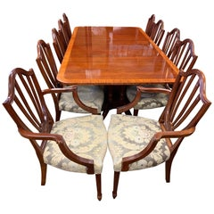 Baker Furniture Ten-Piece Dining Room Set of Mahogany Table and Ten Chairs