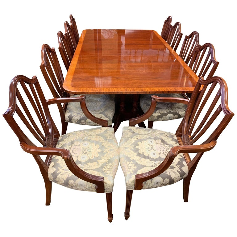 Baker Furniture Mahogany Dining Room Set, Table and Ten ...