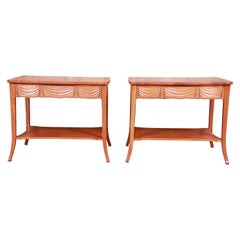 Baker Furniture Trompe L'Oeil Draped Front Cherry Wood Bedside Tables, Pair