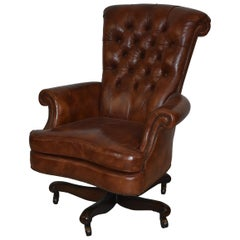 Baker Furniture Tufted Brown Leather Desk Office Chair
