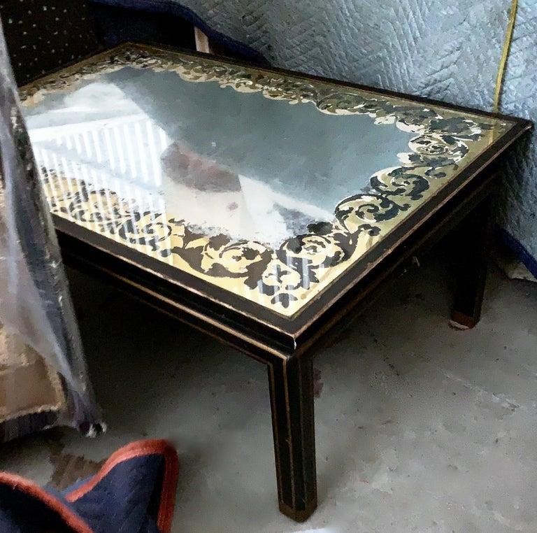 French Provincial Baker Furniture Verre Églomisé Gilt Ebonized Antique Coffee Table, Labelled For Sale