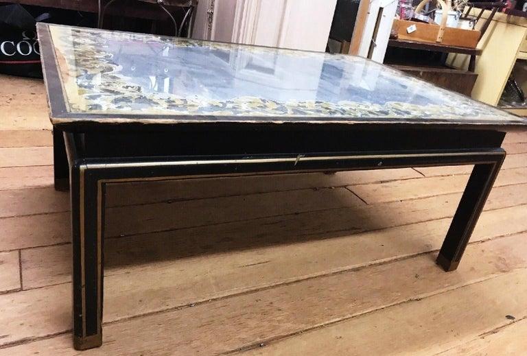 American Baker Furniture Verre Églomisé Gilt Ebonized Antique Coffee Table, Labelled For Sale