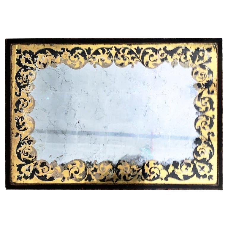 20th Century Baker Furniture Verre Églomisé Gilt Ebonized Antique Coffee Table, Labelled For Sale