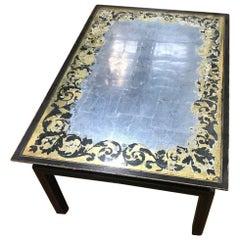 Baker Furniture Verre Églomisé Gilt Ebonized Antique Coffee Table, Labelled
