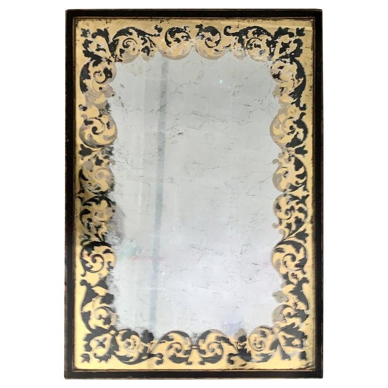 Baker Furniture Verre Églomisé Gilt Ebonized Antique Coffee Table, Labelled For Sale