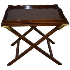 Baker Furniture Walnut Party Butlers Tray Serving Table with Brass Hardware