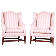 Baker Furniture Wingback Lounge Chairs, Pair
