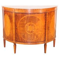 Baker Historic Charleston Collection Mahogany and Satinwood Demilune Buffet