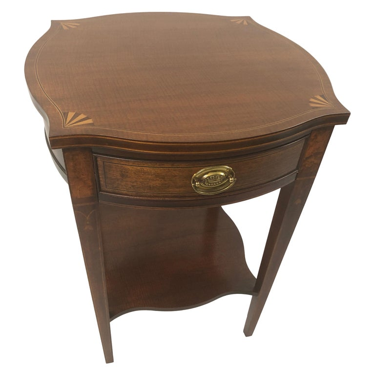 Baker Historic Charleston Mahogany and Satinwood Inlay Side Table For Sale