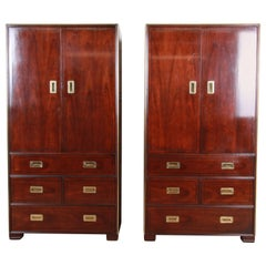 Baker Hollywood Regency Campaign Style Cherry and Brass Armoire Dressers, Pair
