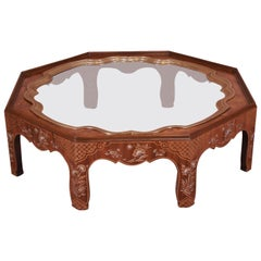 Baker Hollywood Regency Chinoiserie Walnut and Brass Octagonal Cocktail Table