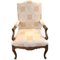 Baker Large Carved Wood and Upholstered French Style Armchair