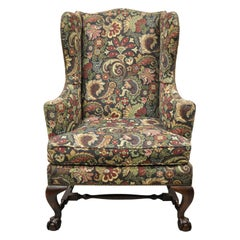 Baker Mahogany Ball and Claw Wingback Lounge Arm Chair Blue Floral Upholstery