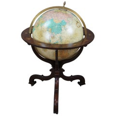 Baker Mahogany Replogle Heirloom Illuminated Zodiac Floor Library World Globe