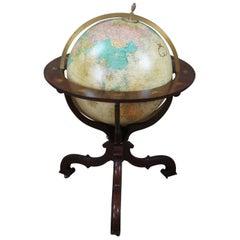 Baker Mahogany Replogle Heirloom Illuminated Zodiac Floor Library World Globe