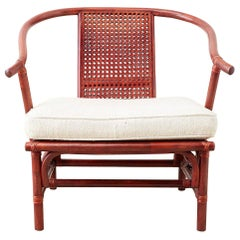 Baker Ming Style Lacquered Bamboo Rattan Horseshoe Armchair