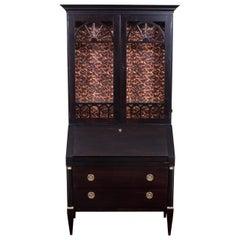 Baker Neoclassical Ebonized Secretary Bookcase