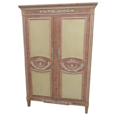 Baker Paint Decorated Neoclassical Style Armoire with Fitted Interior