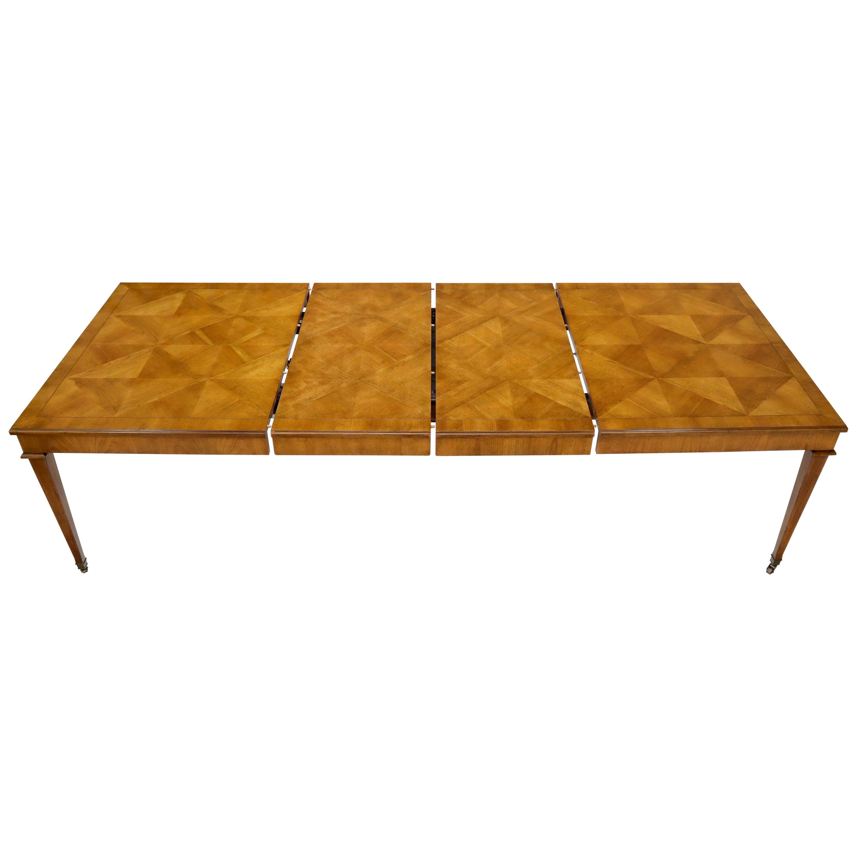 Baker Parquet Top Rectangle Dining Table with Two Extension Leaves Boards