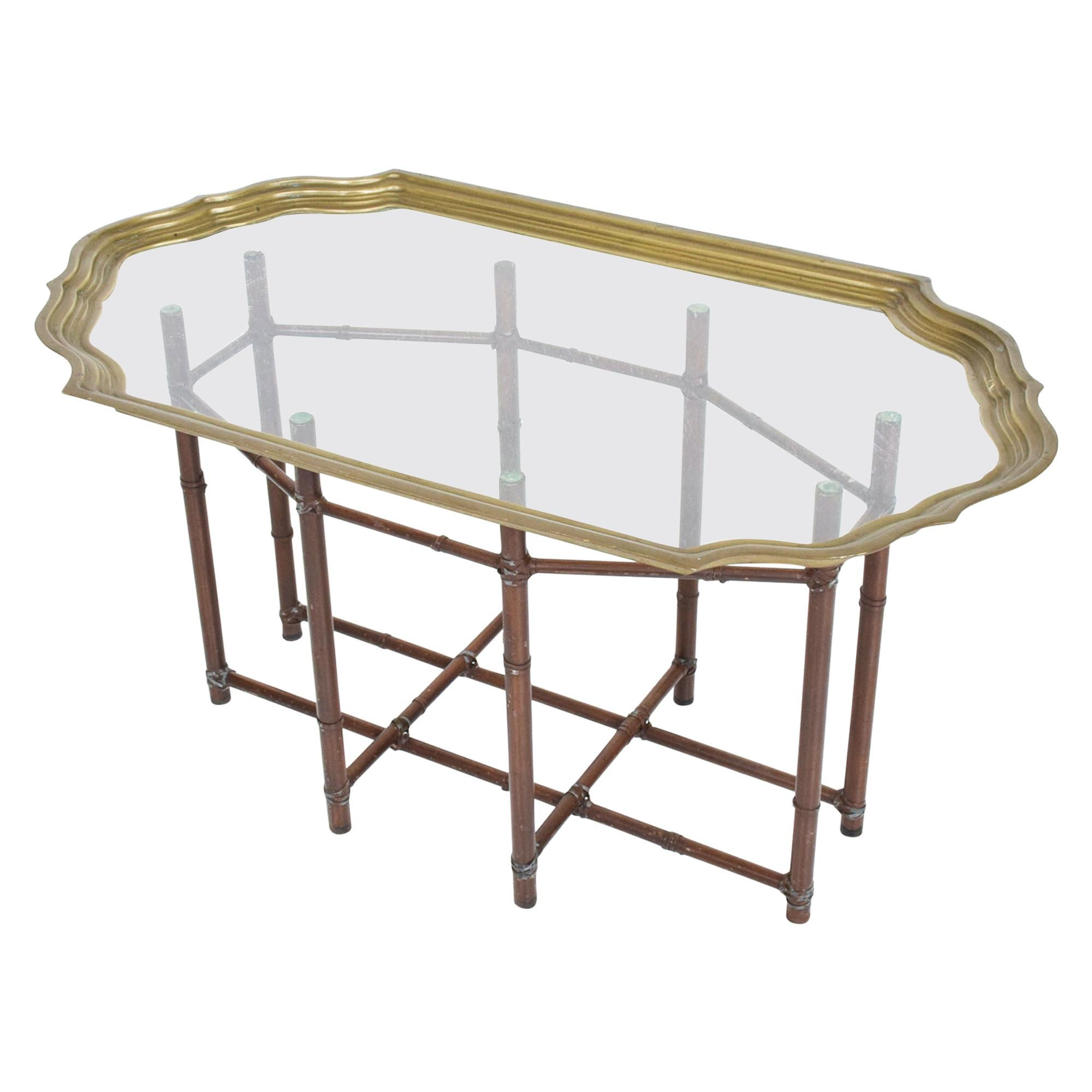 Baker Regency Faux Bamboo Brass & Glass Oval Scalloped Cocktail Table 1970s