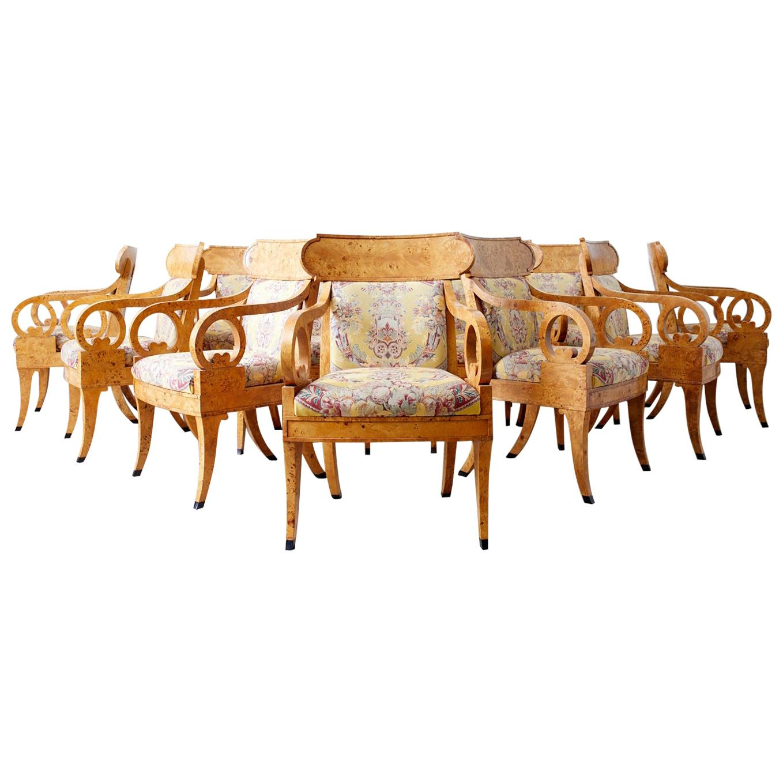Baker Regency Style Burl Wood Klismos Dining Armchairs, 26 Available