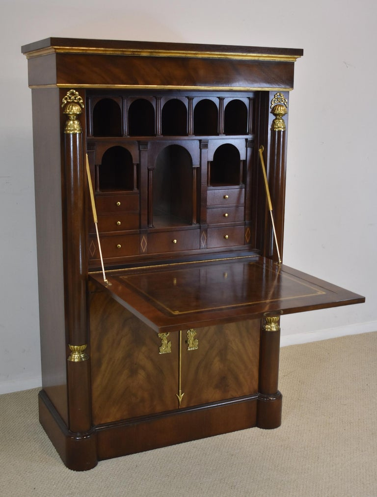 Baker Signature Empire Style Drop Front Desk Secretary With Cabinet For