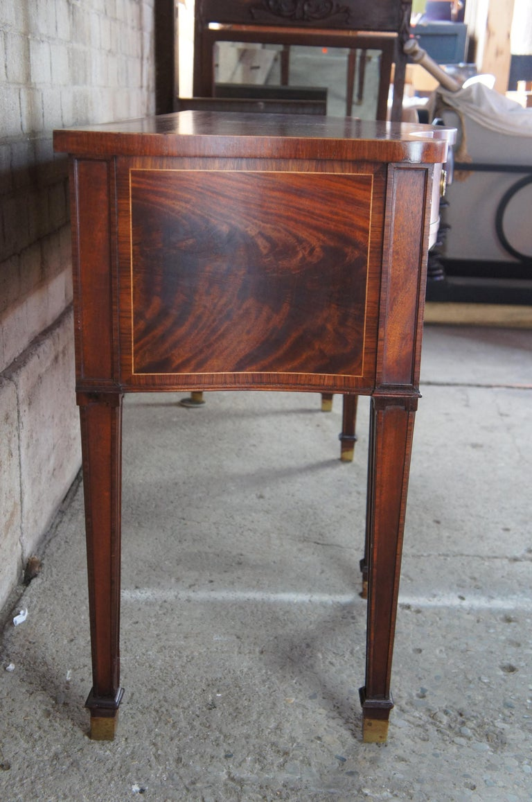 American Baker Stately Homes Flamed Mahogany Sideboard Serpentine Buffet Sheraton Style For Sale