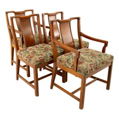 Baker Style American of Martinsville Midcentury Walnut Dining Chairs, Set of 4