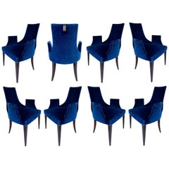 "Baker Thomas Pheasant ""Shell"" Dining Chairs, Set of 8 in Navy Velvet"