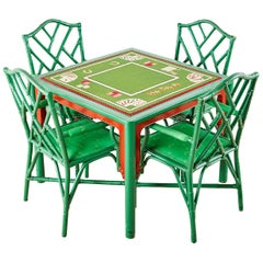 Baker Trompe l'oeil Card Table with Rattan Armchairs