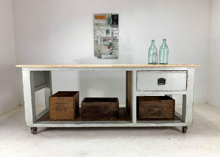 Fabulous kitchen island based on original designs by renowned Baker's tables makers Terrington and Sons, who were based in England during the 1930s-1950s. We have incorporated an original pale hardwood top, drawer and potting boards into a new frame