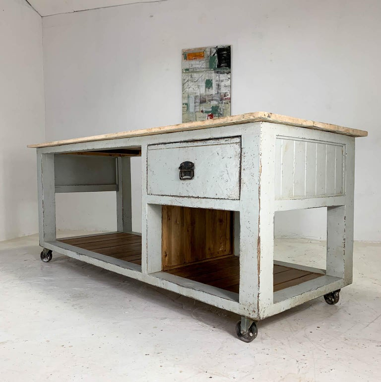 Industrial Baker's Table Workbench Kitchen Island Kitchen Table For Sale