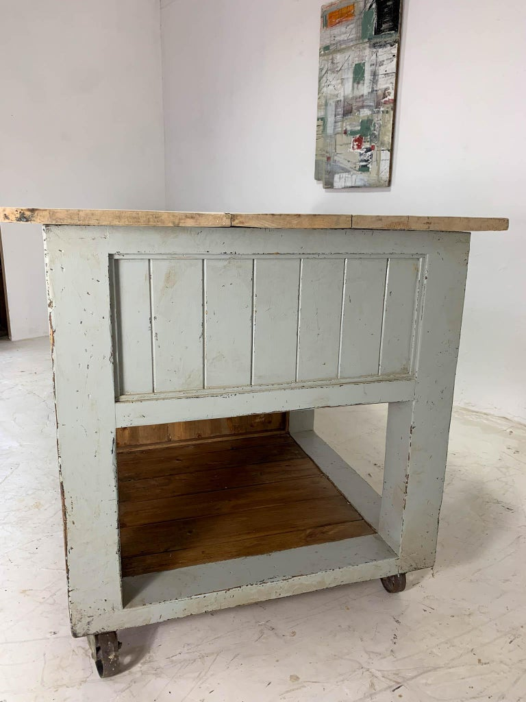 Pine Baker's Table Workbench Kitchen Island Kitchen Table For Sale