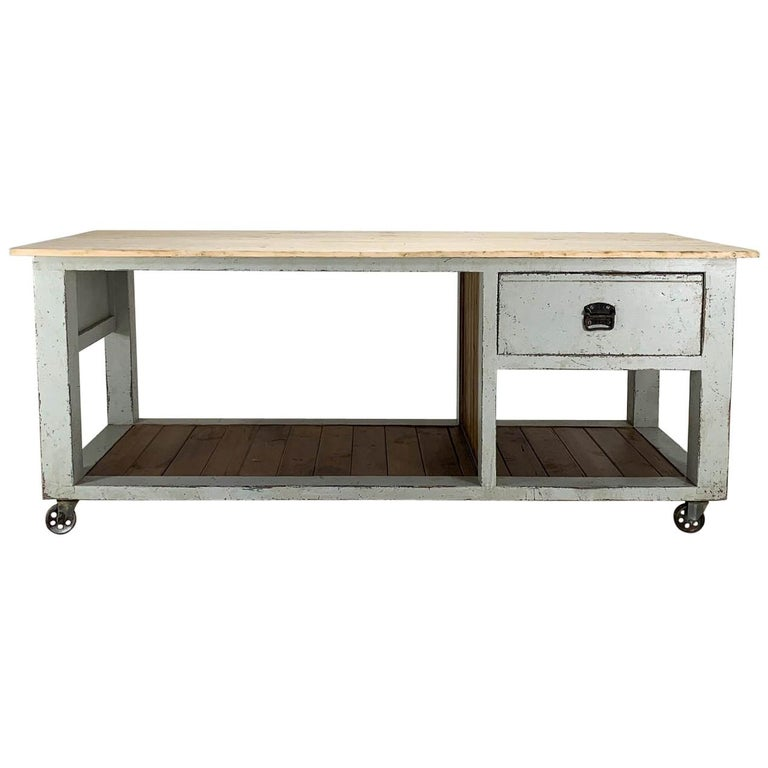 Baker's Table Workbench Kitchen Island Kitchen Table For Sale
