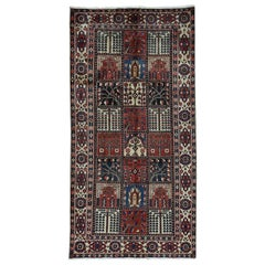 Bakhtiari Garden Design Hand Knotted Pure Wool Wide Runner Rug