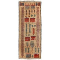 Bakshaish Geometric Beige and Blue Wool Runner