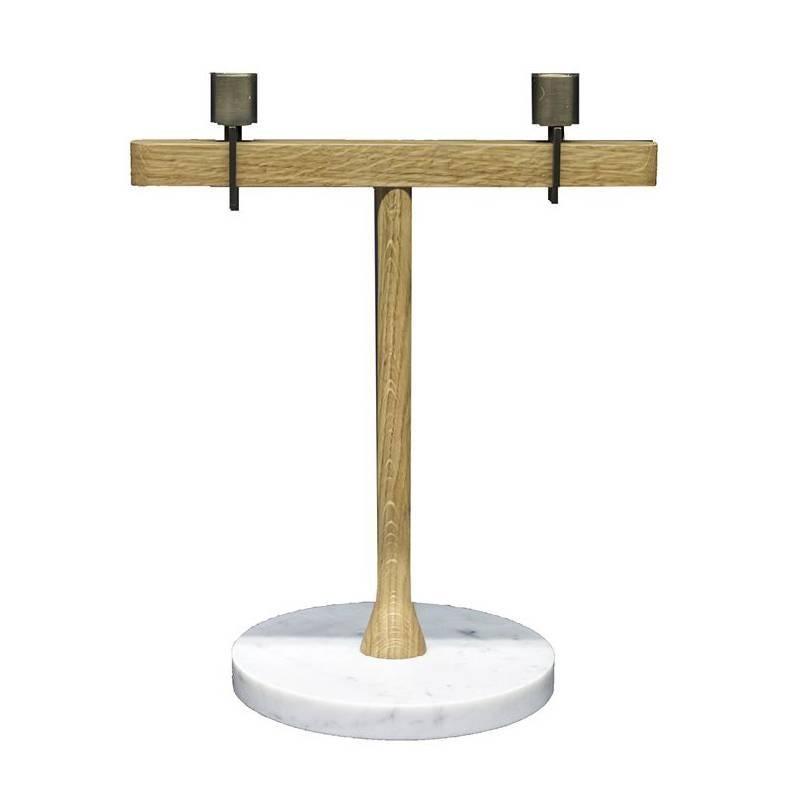 Balance 1 Candleholder in White Carrara Marble, Oak and Brass by Neri & Hu