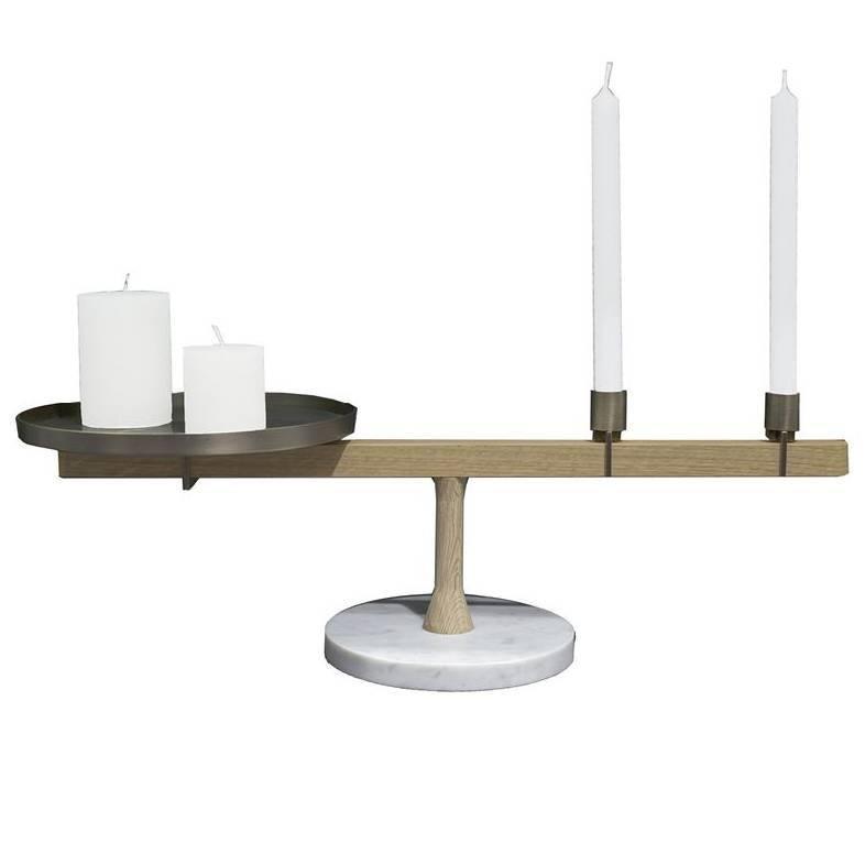 Balance 2 Candleholder in White Carrara Marble, Oak and Brass by Neri & Hu