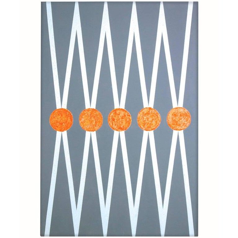 """Balance"" 2015 grey /white Geometrical  Acrylic on Canvas by Cecilia Setterdahl For Sale"