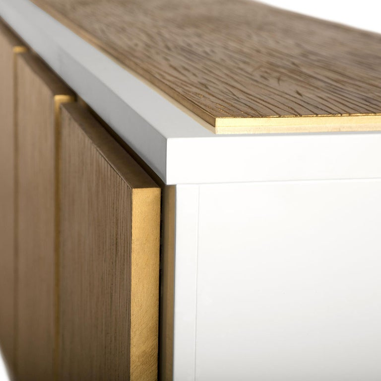 Modern Balboa Credenza in Lacquered White & Antique Gold by Badgley Mischka Home For Sale