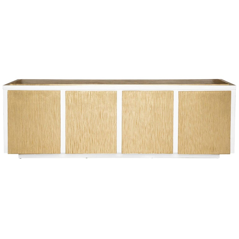 Balboa Credenza in Lacquered White & Antique Gold by Badgley Mischka Home For Sale