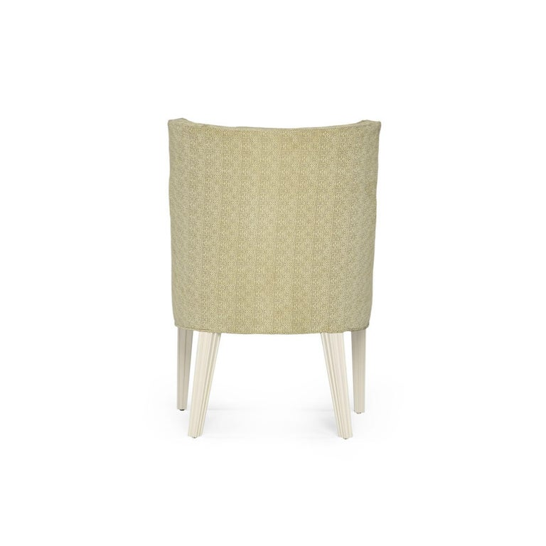 Modern Balboa Dining Chair in Beige with Lacquered White Legs by Badgley Mischka Home For Sale