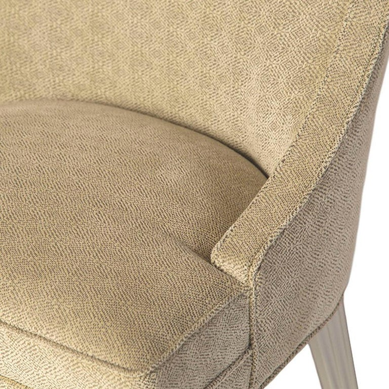 Mexican Balboa Dining Chair in Beige with Lacquered White Legs by Badgley Mischka Home For Sale