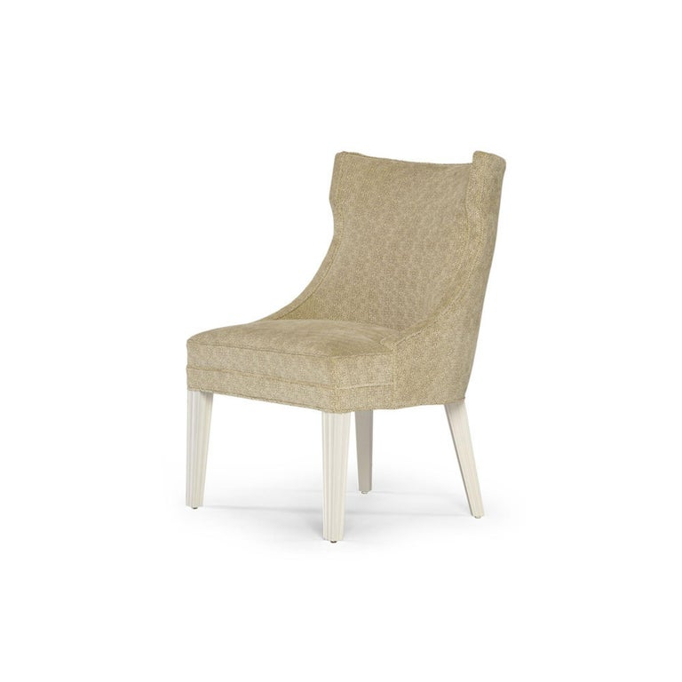 Contemporary Balboa Dining Chair in Beige with Lacquered White Legs by Badgley Mischka Home For Sale