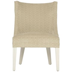 Balboa Dining Chair in Beige with Lacquered White Legs by Badgley Mischka Home