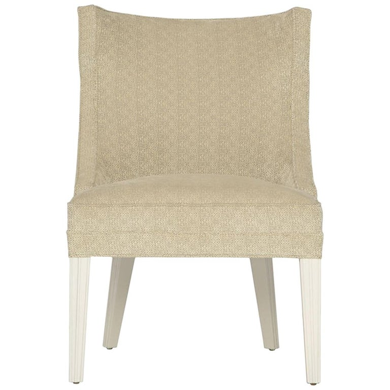 Balboa Dining Chair in Beige with Lacquered White Legs by Badgley Mischka Home For Sale