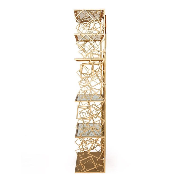 Modern Balboa Étagère in Hand-Gilded Gold Leaf by Badgley Mischka Home For Sale