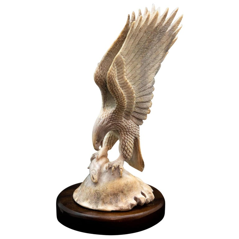 Bald Eagle with Fish Moose Antler Carving For Sale