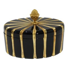 Baldi Black Glass and 24-Karat Gold Box