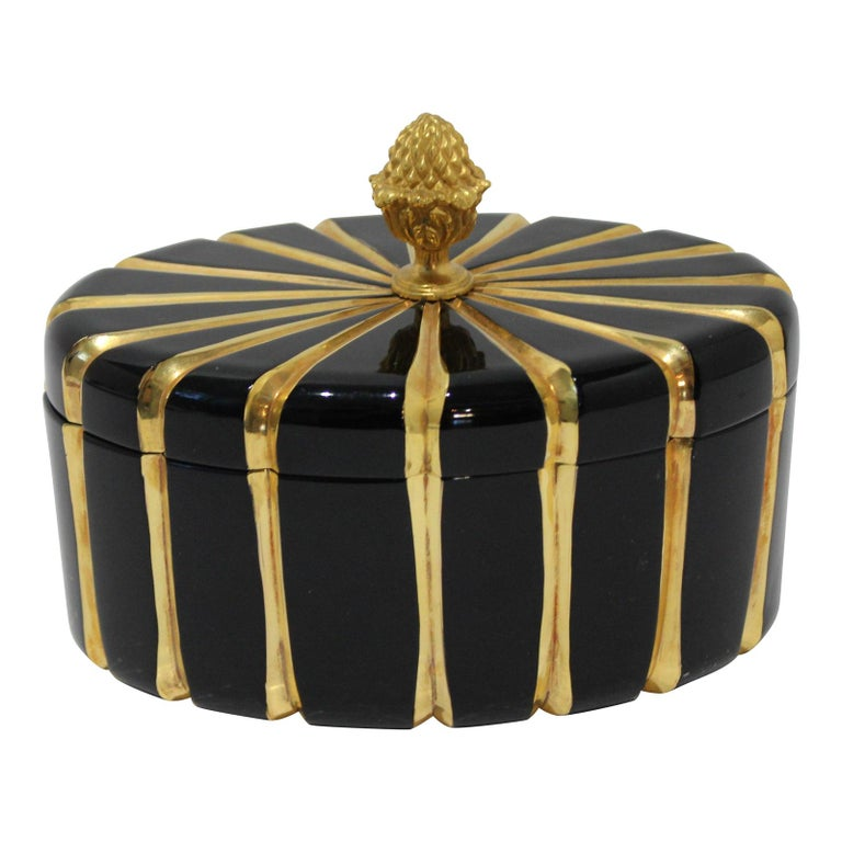Baldi Black Glass and 24-Karat Gold Box For Sale